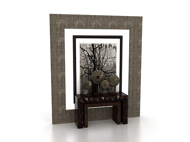 Feature wall and console table 3d rendering