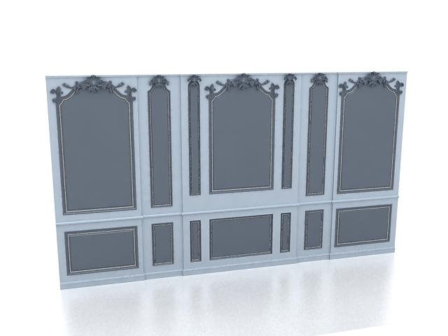 Blue feature wall 3d rendering