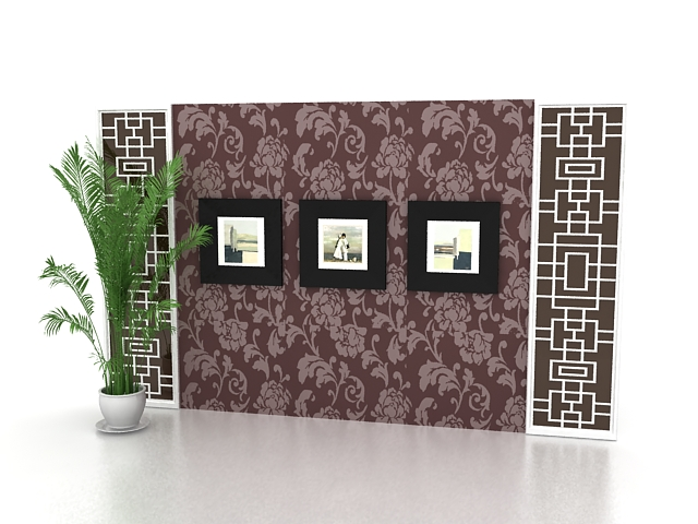 Home picture gallery feature wall 3d rendering