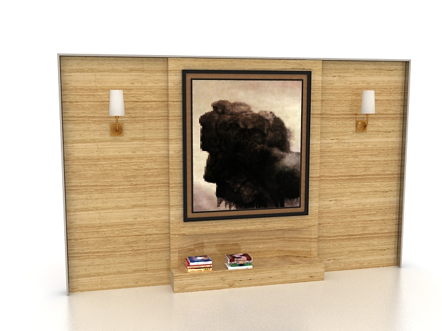 Wood feature wall for living room 3d rendering