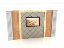 Feature wall interior design 3d preview