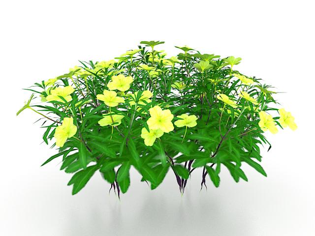 Yellow flowers plants 3d rendering