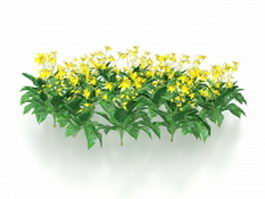 Yellow flowers plants 3d model preview