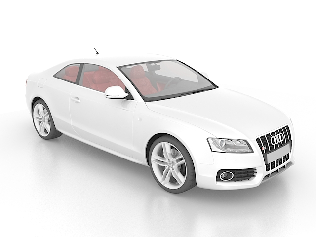 White Audi S5 compact executive car 3d rendering