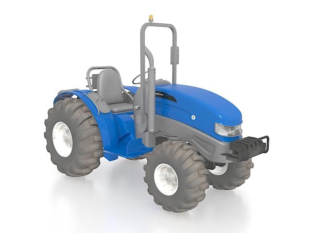 Blue tractor 3d rendering