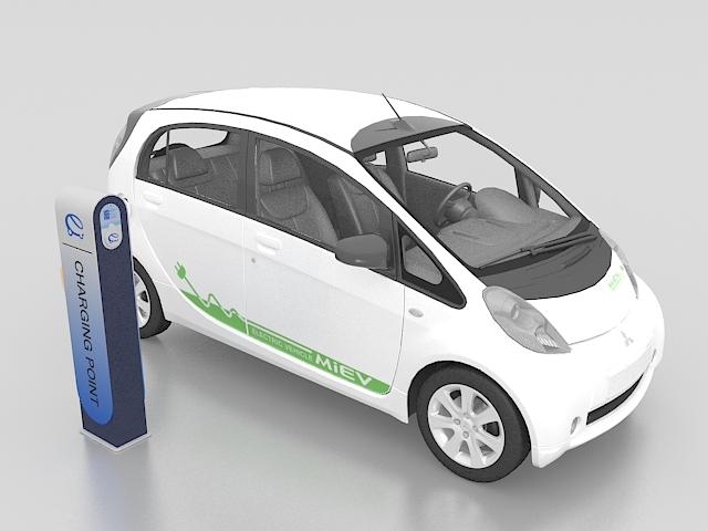 Mitsubishi MIEV electric car 3d rendering