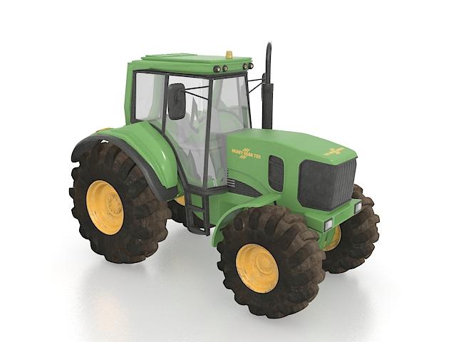 Green tractor 3d rendering