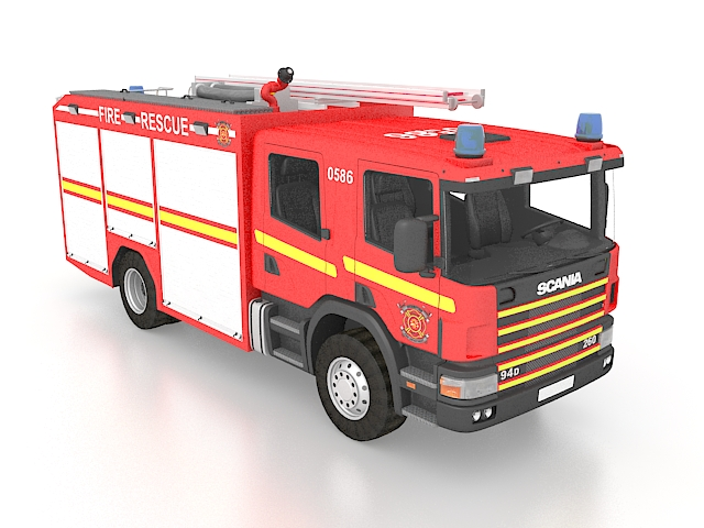 Scania fire truck 3d rendering