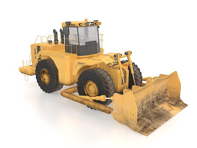 Excavator wheel loader 3d rendering