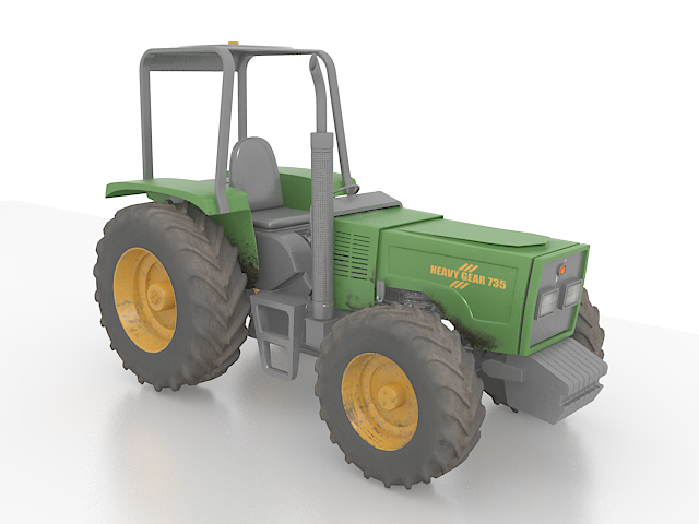 Compact utility tractor 3d rendering
