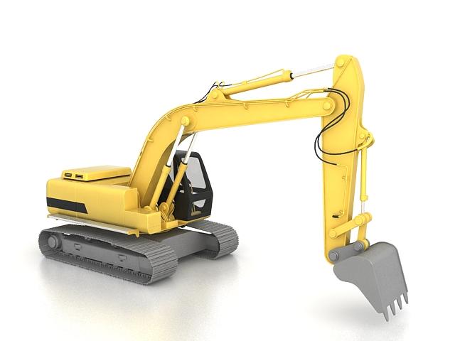 Modern excavator 3d rendering