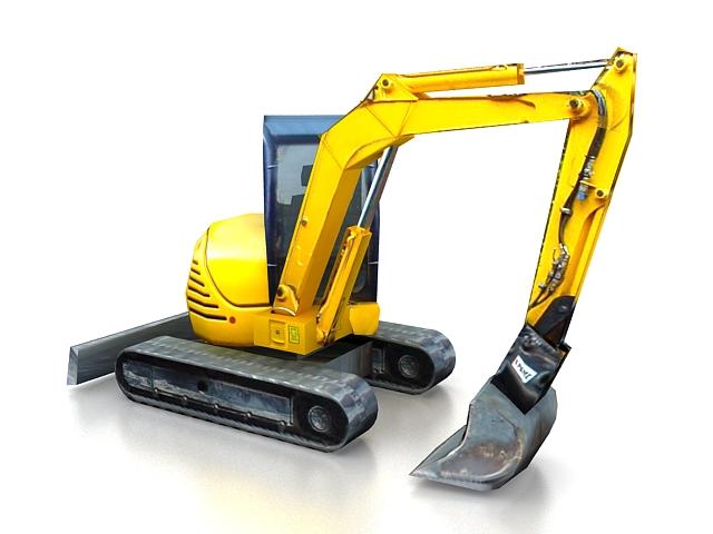 Small excavator 3d rendering