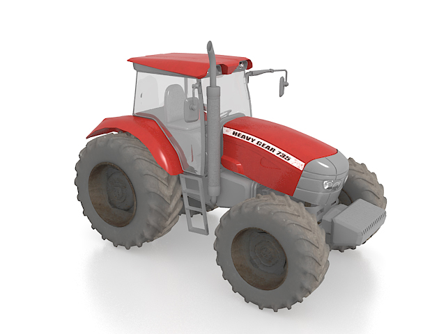 Red tractor 3d rendering