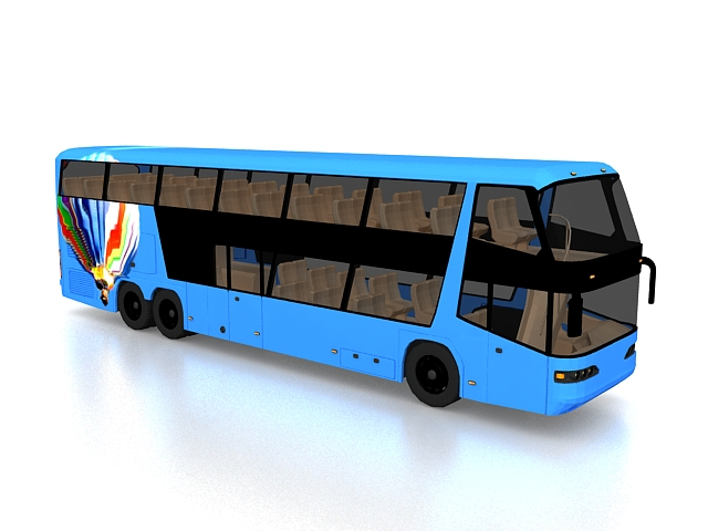 Double-decker bus 3d rendering