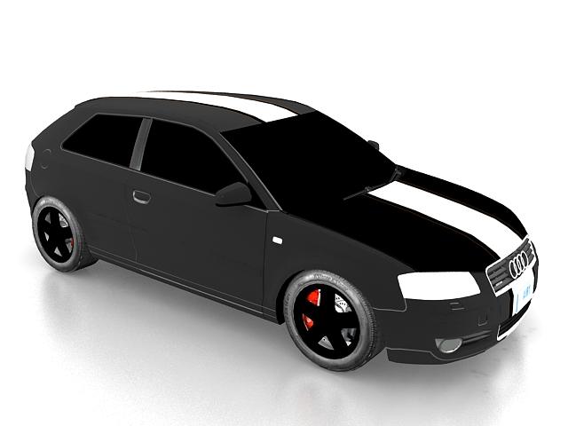 Audi A3 compact car 3d rendering