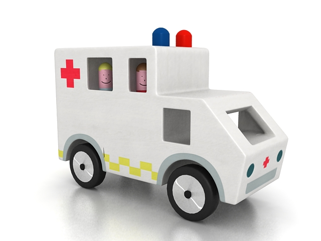 Cartoon ambulance 3d rendering