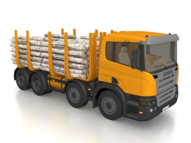Scania logging truck 3d rendering