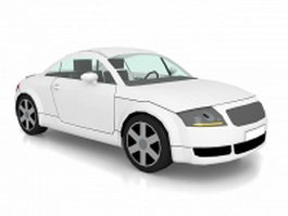 White coupe car 3d model preview