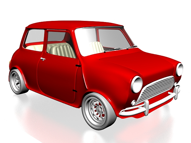 Retro style mini car 3d rendering