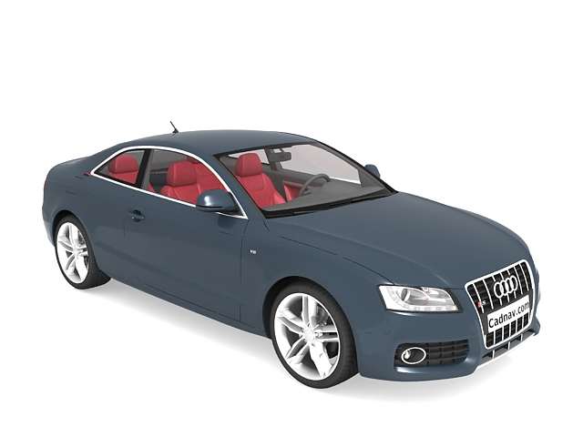 Audi S5 coupe blue 3d rendering
