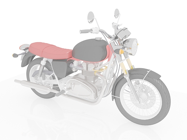 Red and black motorcycle 3d rendering