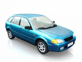 Blue hatchback car 3d preview