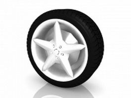 Star wheels and tire 3d preview
