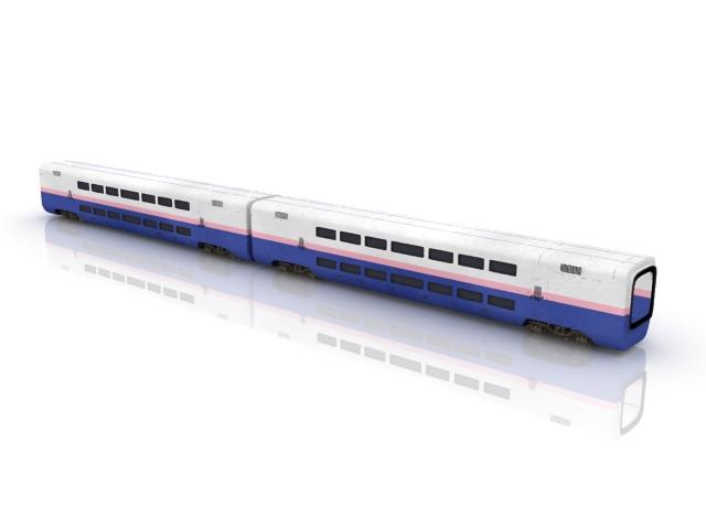 Double decker train cars 3d rendering