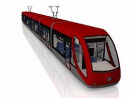 Red electric tram 3d preview