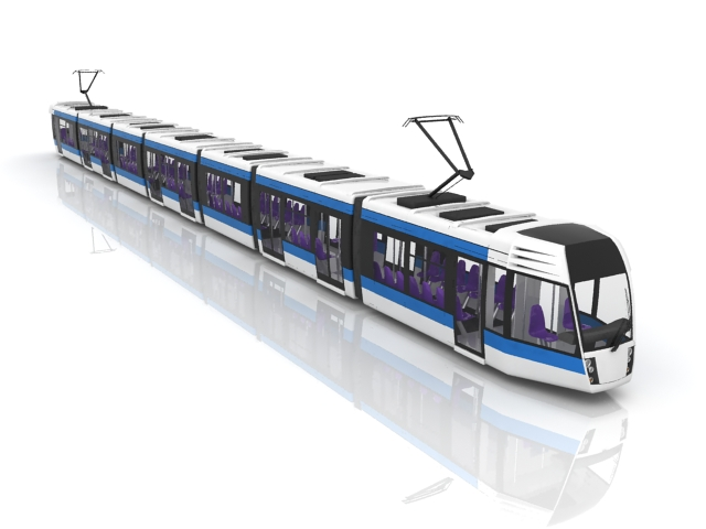 Electric streetcar 3d rendering