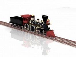 Vintage steam engines train 3d preview