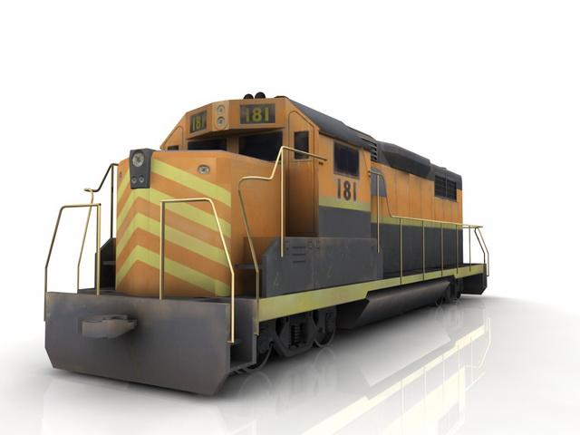 Train engine car 3d rendering