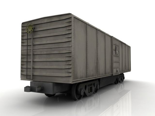 Railroad freight boxcar 3d rendering