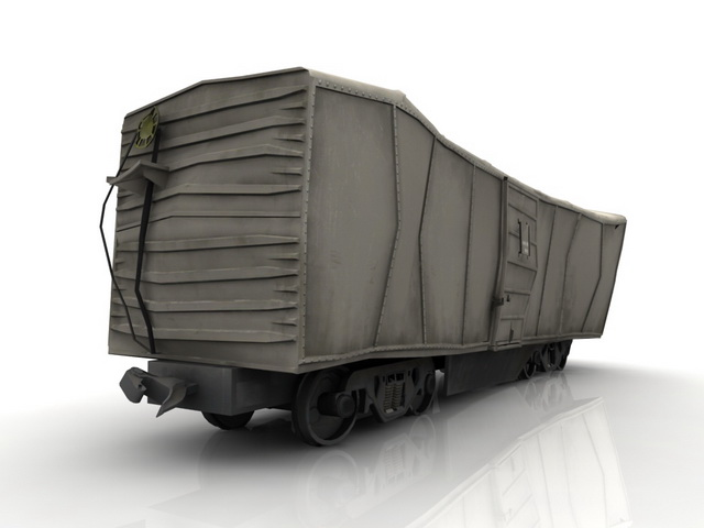 Train boxcar wreck 3d rendering