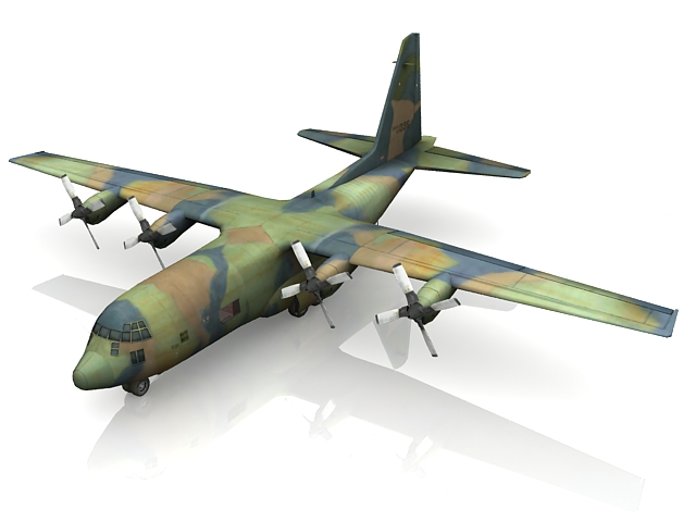 C-130 Hercules military transport aircraft 3d rendering