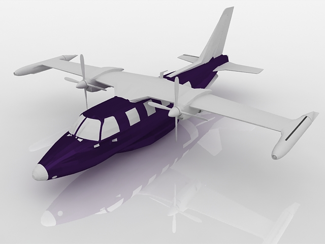 High wing aircraft 3d rendering