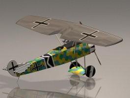 Focker D7 fighter plane 3d model preview