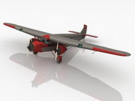 Ford tri-motor airplane 3d model preview