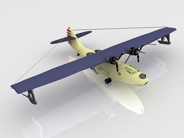 Navy PBY Catalina flying boat 3d rendering