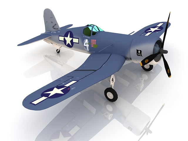 American F4U Corsair fighter 3d rendering