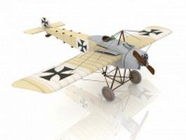 Fokker Eindecker fighter 3d model preview