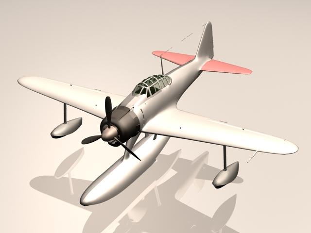 Nakajima A6M2-N fighter bomber 3d rendering