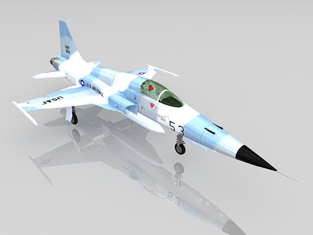 USAF F-5E fighter aircraft 3d rendering