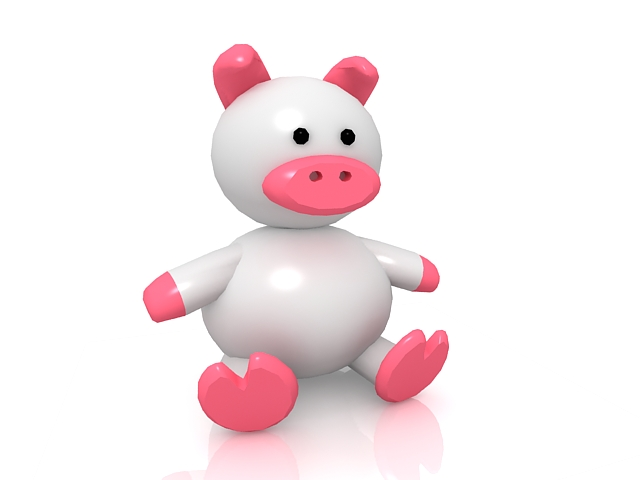 Cute cartoon baby pig 3d rendering