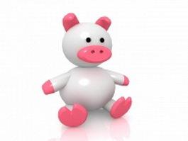 Cute cartoon baby pig 3d preview