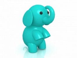 Cartoon elephant 3d model preview