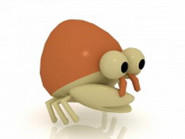 Cartoon hermit crab 3d preview