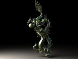 Chinese bronze dragon 3d preview