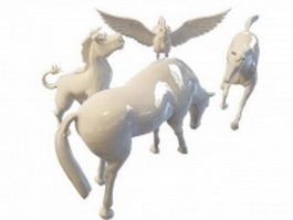 Horse statues 3d preview