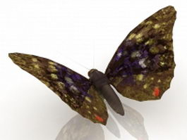 Brown butterfly 3d model preview